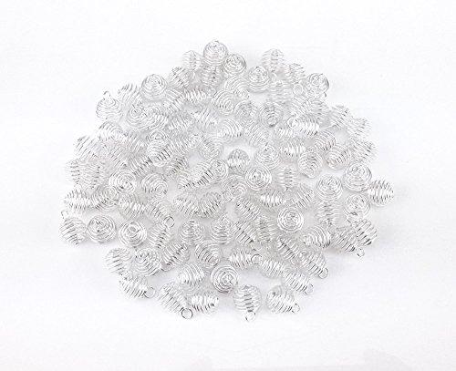 yueton 100pcs Spring Pendants Silver
