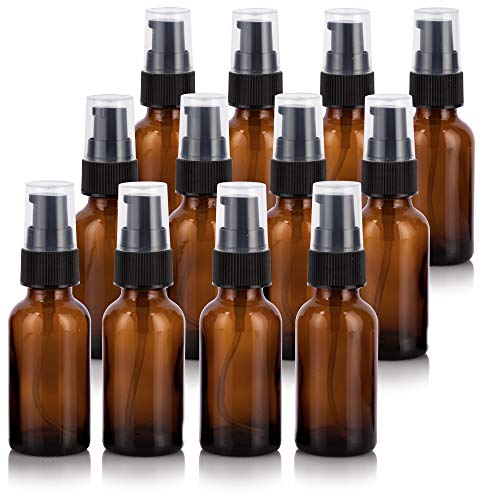 (1 oz Amber Glass Boston Round Treatment Pump Bottle (12 Pack) + Funnel for Essential Oils, Aromatherapy, Food Grade, bpa Free )