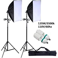 Safstar 2X135W Photography Softbox 24x16 Socket Light Lighting Kit Photo Equipment Softbox with Stand and Bulbs