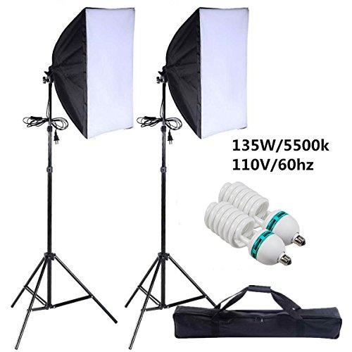 2pcs 135w Photo Studio Continuous Lighting Softbox Stand Kit - 1
