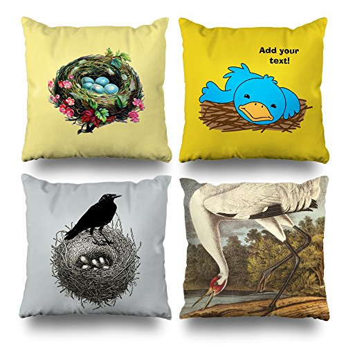 rativepillows 18 x 18 inch Throw Pillow Covers,Bird Ravens Crane Series Double-Sided Decorative Home Decor Pillow case Garden Sofa Bedroom Car Nice Gift ()
