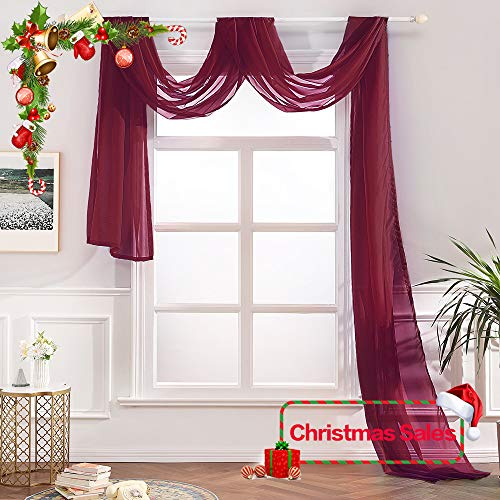 MIULEE Luxury Window Scarf Sheer Voile for Christmas Elegant Topper Long Window Valance Solid Window Treatment Swags Drapes for Window Ceremony Wedding Canopy Bed 54