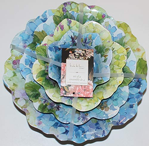 Nicole Miller Blue Floral Melamine Set of 4 Serving Bowls - With Scalloped Edges