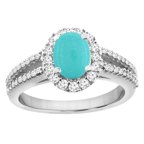(10K White Gold Natural Turquoise Split Shank Halo Engagement Ring Oval 7x5 mm, size 10 )