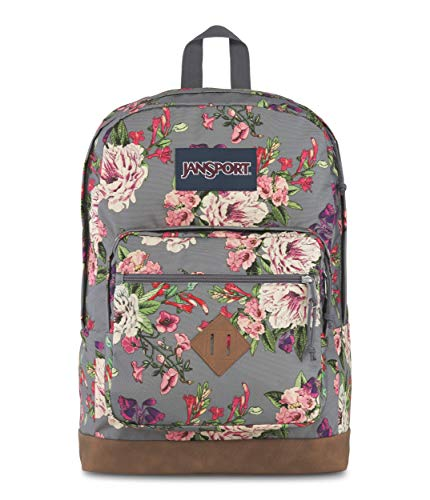 JanSport City View Backpack -15-inch Laptop School Pack, Grey Bouquet