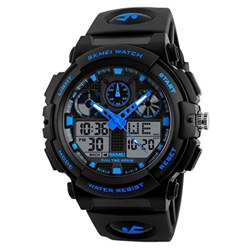 IslandseSKMEI Men LED Large Dial Digital Watch Waterproof Alarm Calendar Sport Watch (Blue)