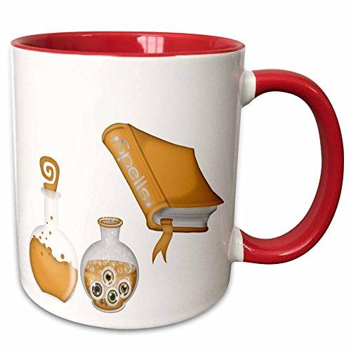 3dRose Anne Marie Baugh - Halloween - Halloween Spells Book and Bottles In Orange Illustration - 15oz Two-Tone Red Mug (mug_216977_10) ()