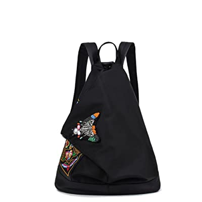 JUNBOSI Women Girl's Vintage Ethnic Style Backpack Embroidery Shoulder Bags Canvas Satchel Unique Design Rucksack