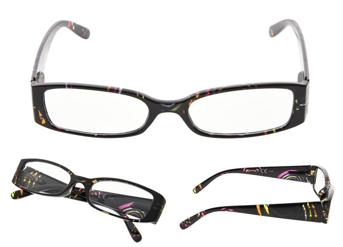 READING GLASSES 4 pack Geometric Pattern Temples Readers for Women +1.25