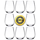 NOTMOG Tristan Plastic Wine Glasses - Reusable Shatterproof 16oz 450ml Stemless Wine Tumblers, Clear (Set of 8)