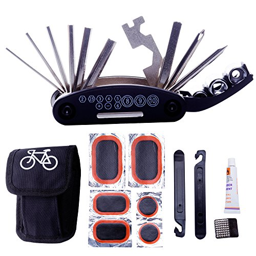 (DAWAY A32 Bike Repair Tool Kits - 16 in 1 Multifunction Bicycle Mechanic Fix Tools Set Bag with Tire Patch Levers & Glue)
