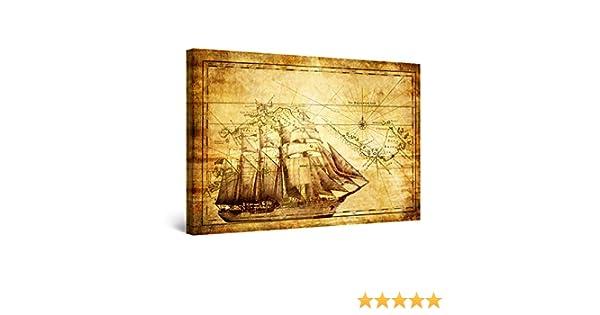 World Map Framed Wall Art.Amazon Com Startonight Wall Art Canvas World Map Brown Maps Framed