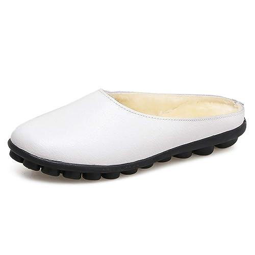 Mujeres Zapatillas Mocasines Mocasines Zapatos Pisos Ballet Mocasines de Costura Plana Resbalón de la Piel en Punta Redonda de Señoras Calzado Casual: ...