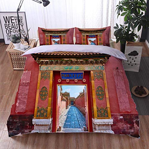 VROSELV-HOME Full Queen Duvet Cover Sets,Forbidden City Imperial Palace Beijing China,Soft,Breathable,Hypoallergenic,100% Cotton Reversible 3 Pieces Kids Girls Boys Bedding Sets