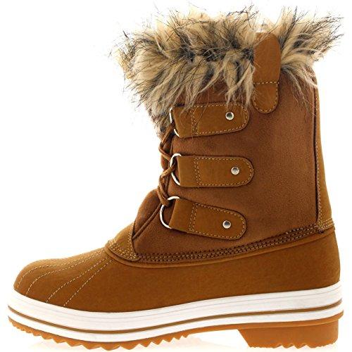 Mujer Manguito De Piel Cordones Caucho Corto Nieve Lluvia Zapato Botas Tan Suede