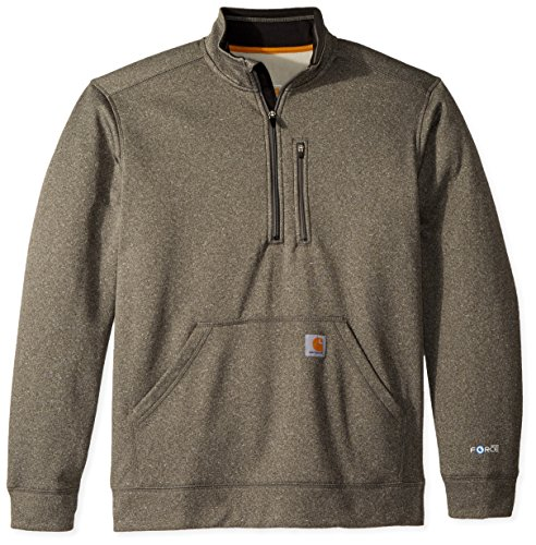 Carhartt Heavyweight Hooded Zip Sweatshirt - Carhartt Men's Force Extremes Mock-Neck Half-Zip Sweatshirt (Regular and Big & Tall Sizes), Granite Heather, Medium