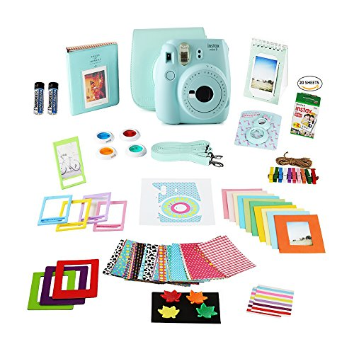 Fujifilm Instax Mini 9 Film Camera ICE BLUE Camera + 20 Instant Fuji-Film Shots, Instax Case + 14 PC Instax Accessories Bundle, Fuji Mini 9 Kit Gift, 2 Albums, Lenses, Magnets Frames by Shutter