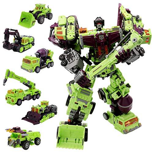 NBK Deformation Oversize Toys Robot Devastator TF Engineering Combiner 6 in 1 Action Figure Car Truck Model Gift for Kids Boys (Transformers Toy Devastator)