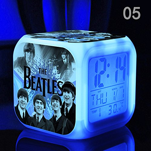 - The Beatles, John Lennon, Paul McCartney, George Harrison and Ringo Starr, The World Famous Rock Band, Digital Alarm Desktop Clock with 7 Changing Glowing LED (Style 5)