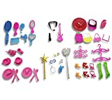 BUNITA,50pcs/set Kids Toy Doll Accessories For Barbie Doll House Mix Style (Necklace headbag Shoes Mirror Comb Guitar ) Girl's Gift,doll house accessories set