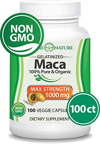 Organic Maca Root - 100 Vegan Capsules - Peruvian Maca Root - Gelatinized, Non-GMO -  Supports Reproductive Health, Natural Energizer