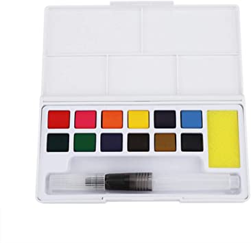 12 colori con pennello Acquarelli Scolastici Made in Germany
