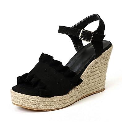 0a248e9951fb6 Amazon.com   JOYBI Women's Platform Wedge Sandals Straw Outsole High ...