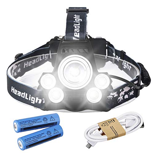 HeCloud 5xT6 LED Headlamp Tactical Headlight with USB Cabel and Rechargerable 18650 ()
