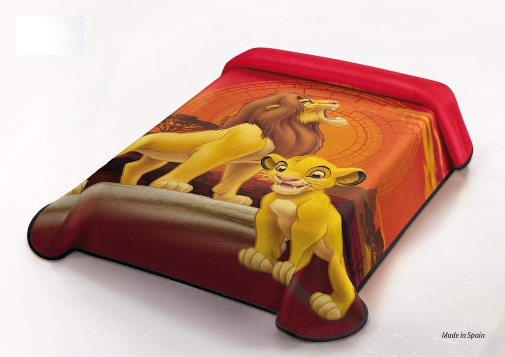 Manta Terciopelo Disney Modelo: EL Rey LEÓN (The Lion King), Color: ÚNICO, Medida: 160x220 (Ideal para Cama de 90cm.)