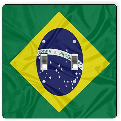 Rikki Caballero 1660doble Toggle, diseño de la bandera de Brasil Interruptor de luz Plate