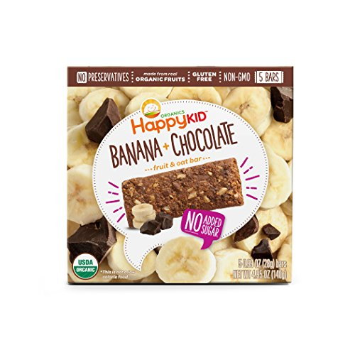 Happy Kid Organic Fruit & Oat Bar Banana Chocolate, 5 Count Box (Pack of 6) Chewy Oat Bars with Organic Fruits & Whole Grains, Organic Kids Snack, Gluten Free Non-GMO No Preservatives