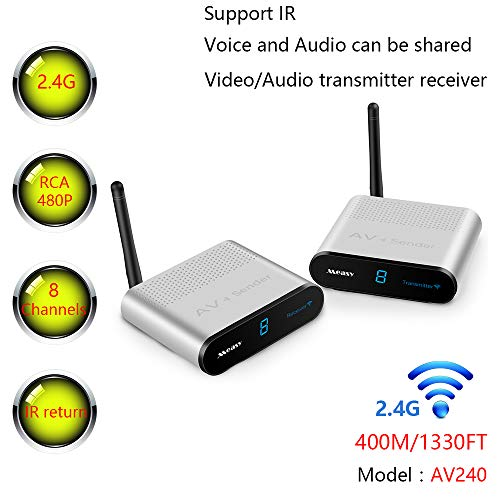 MEASY AV240 2.4GHZ 8 Channels AV Wireless Audio Video Transmitter & Receiver up to 400M/1330FT