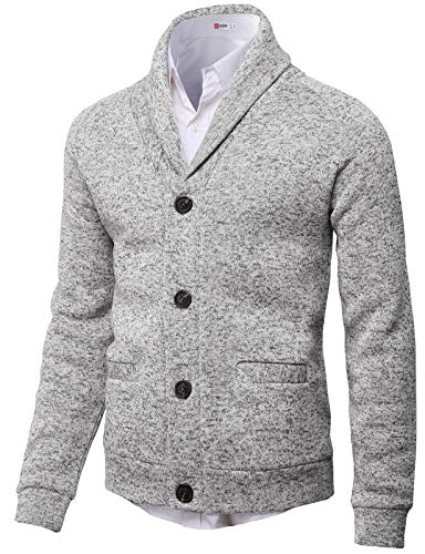(H2H Mens Knitted Fashion Long Sleeve Shawl Collar Button Front Cardigan White US S/Asia M (CMOCAL031))