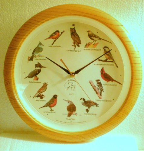 (Audubon Singing Bird Clock 13 In. Framed in Light Brown Woodgrain [North American Bird Songs Announces Each Hour])