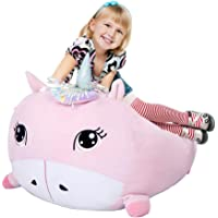 Chener Unicorn Stuffed Animals Storage Bean Bag Chair Cover