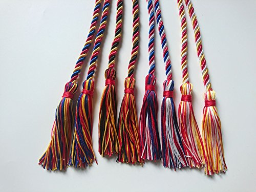 Graduation Honor Cord Three-color Braided Grad Days(Royal Blue Red Gold)