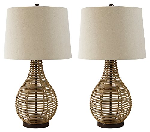 Ashley Furniture Signature Design - Erwin Table Lamps - Rattan - Set of 2 - Casual Style - Brown -