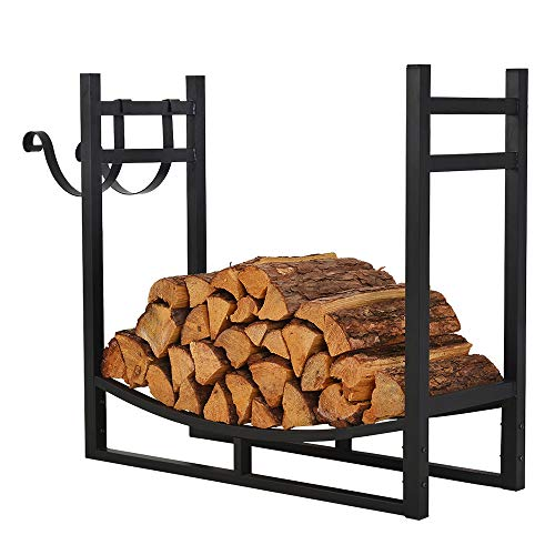Wood Large Extra Rack (Patio Watcher 3-Foot Firewood Rack Log Rack Indoor Outdoor Fire Wood Storage Log Holder with Kindling Holder, Heavy Duty Steel Black)