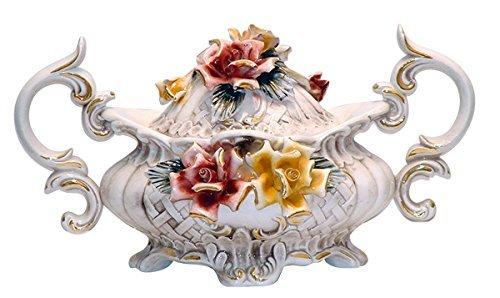 "Capodimonte Style Ceramic Flower Tureen with Cover - 19"" (U004)"