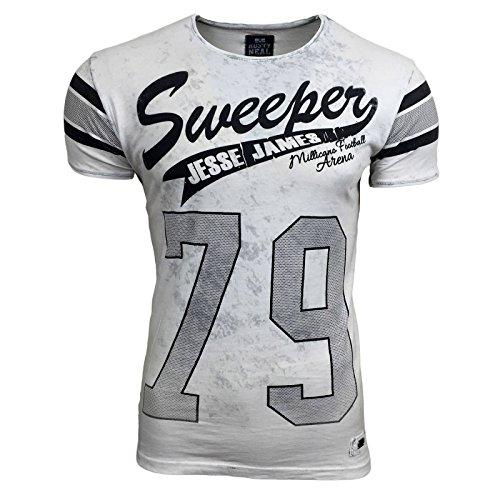 T-Shirt Kurzarm Herren Rundhals Stone Washed Optik Batik Shirt RN-16754 AVRONI, Größe:S, Farbe:Weiß