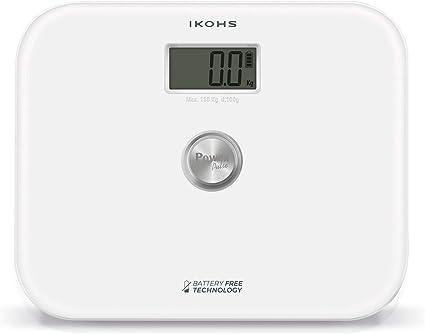 IKOHS EXIGES - Báscula de Baño ecológica generación de energía con Pantalla LCD, sin pilas ni baterias, Compacta, Capacidad de 150kg, Medición Alta Precisión, Con Apagado Automático (Blanco)