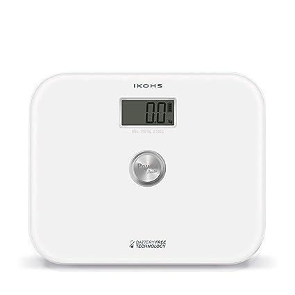 IKOHS EXIGES WHITE - Báscula de Baño ecológica generación de energía, sin pilas ni baterias