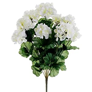 "17"" Geranium Bush x9 White (Pack of 12) 18"