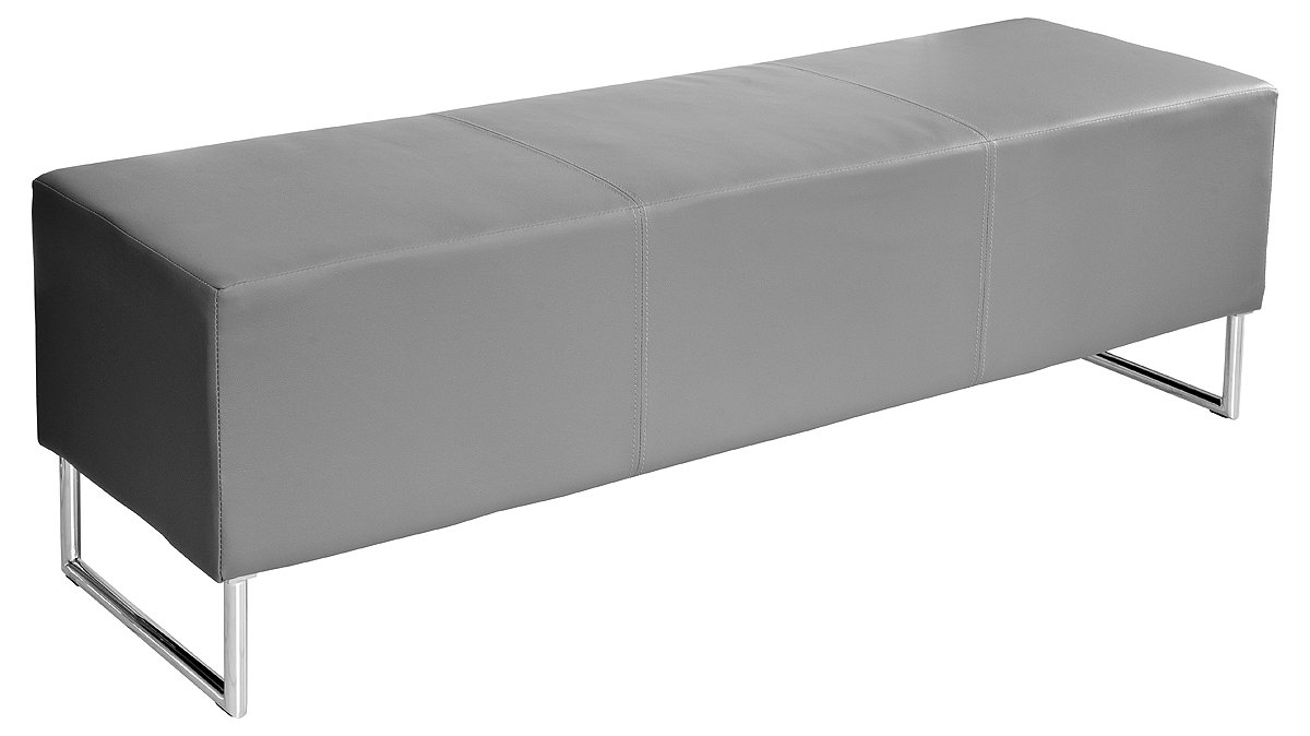 Febland Blockette Bench Seat, Faux Leather, Grey FW623GY