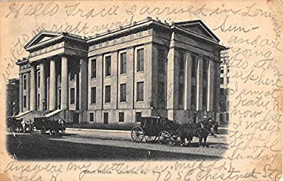 Louisville Kentucky street scene court house horses buggies antique pc Y2967