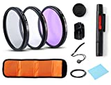 Professional Universal Lens Accessory Kits 58MM UV CPL FLD Lens Filters + Petal Lens Hood + Center Lens Cap Set + Cleaning Pen + Cleaning Wipe for Canon Nikon Sony SLR DSLR Cameras(58MM)