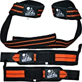 Wrist Wraps + Lifting Straps Bundle (2 Pairs) for Weightlifting, Cross Training, Workout, Gym, Powerlifting, Bodybuilding-Support for Women & Men,No Injury during Weight Lifting-Orange,1 Year Warranty