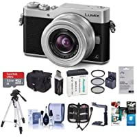 Panasonic Lumix DC-GX850 Mirrorless Digital Camera w/12-32mm Mega O.I.S. Lens, Silver - Bundle With Camera Case, 32GB MicroSDHC Card, Spare Battery, Tripod, Card Reader, Software Package, And More