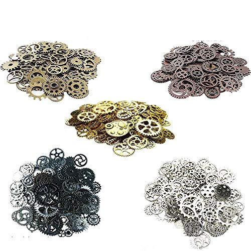 Awtlife 300 Gram Assorted Vintage Antique Steampunk Gears Charms Watch Cog Wheel Sets 5 Color