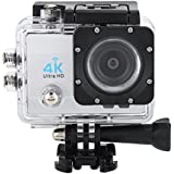 Acouto Action Camera 4K 16MP 30M Waterproof Underwater Sport Camera with Night Vision Flash Vedio Camcorder 170 Degree Wide Angle Wifi Cam with Waterproof Housing Case Accessories kits (silver)